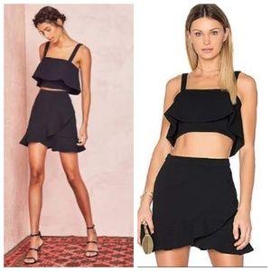 HP🎉 Lovers + Friends Stellar Black Ruffle Skirt